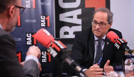 El president de la Generalitat, Quim Torra, durant l'entrevista a Rac1.