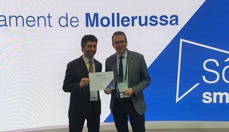 El conseller Puigneró i l'alcalde de Mollerussa, Marc Solsona.