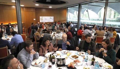 La consellera Teresa Jordà, durant un dinar aquest divendres a Lleida.