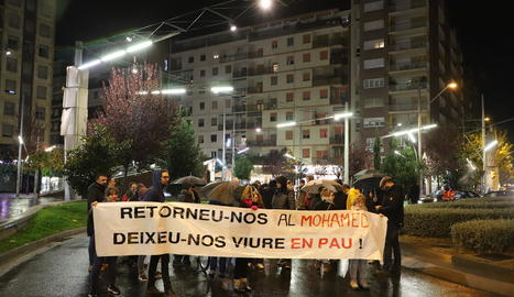 Mobilització ahir contra l'arrest d'un dels joves excarcerats a Lleida.