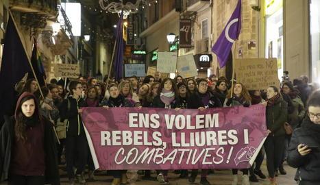 Protesta a Lleida contra la violència masclista.