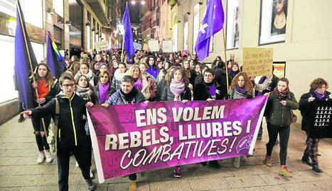 Una protesta a Lleida contra la violència masclista