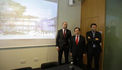 Els representants d'Eurofund, ahir en la presentació del complex de Torre Salses a la Llotja.