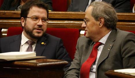 El president del Govern, Quim Torra, amb el vicepresident, Pere Aragonès.