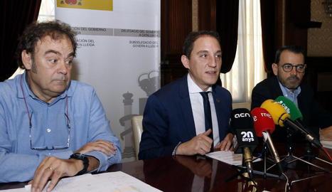 Jaume Banchs, José Crespín i Miquel Molins, ahir.