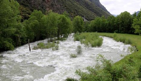 El riu Noguera Pallaresa, al seu pas per la Guingueta d'Àneu.