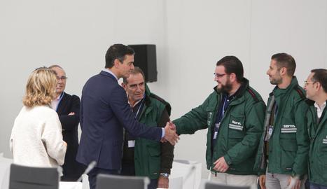 Pedro Sánchez va visitar ahir la seu de la cimera del clima que comença demà a Madrid.