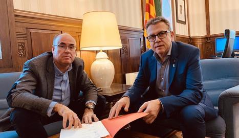 Vidal Vidal i Joan Talarn, ahir a la Diputació de Lleida.
