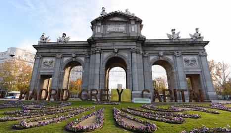 "Greenpeace va canviar ahir l'eslògan ""Madrid Green Capital"" per ""Madrid Grey Capital""."