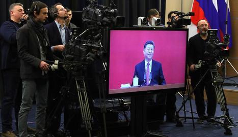 Videoconferència en la qual apareix el lider xinès Xi Jinping.