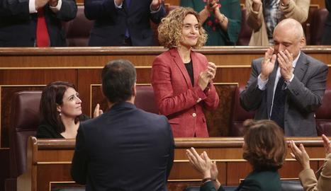 La socialista Meritxell Batet, al ser escollida presidenta.