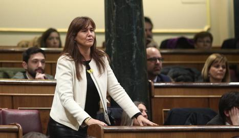 Laura Borràs, de JxCat, ahir.