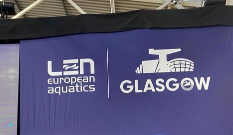 Quatre representants del CN Lleida, ahir a Glasgow.