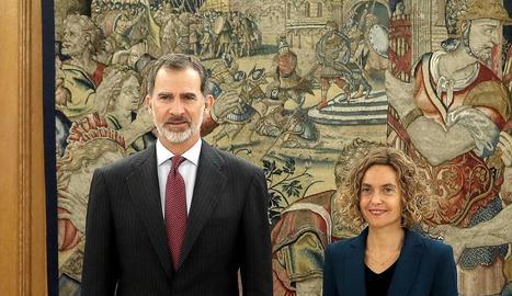El rei i la presidenta del Congrés, Meritxell Batet, ahir, al Palau de La Zarzuela.