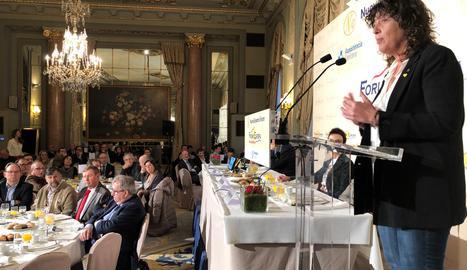 La consellera Jordà en un momento de su intervención el Fòrum Europa Tribuna Catalunya.