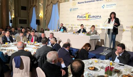 La consellera, a l'esmorzar informatiu a Barcelona.