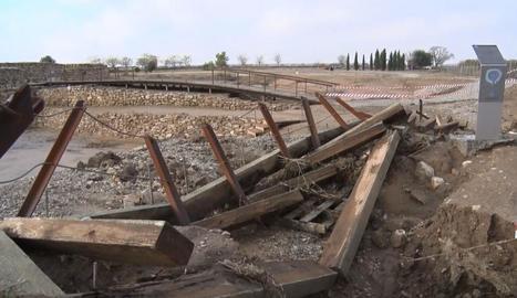 Una passarel·la dels Vilars que va destrossar el temporal.