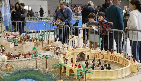 Un dels diorames amb figures de Playmobil que es van exhibir a la Fira de Lleida.