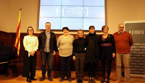 Participants ahir a l'IEI en un acte organitzat per la Fundació Catalunya Cultura sobre mecenatge.