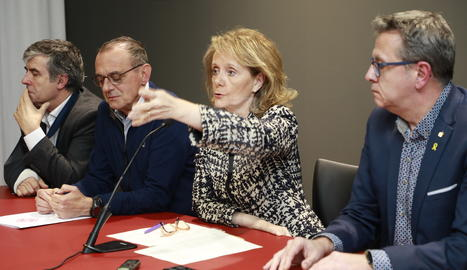 Talarn, aquest dimecres al costat de la consellera de Cultura durant la roda de premsa al Museu de Lleida.