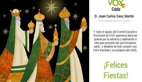 Una felicitació nadalenca de Vox Cádiz es fa viral en ser els tres Reis Mags blancs