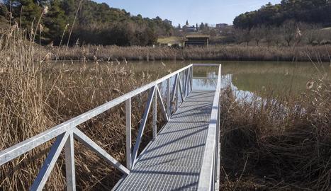 Una de les passarel·les que s'endinsen a la planta de Sant Guim.