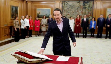 El vicepresident segon del govern espanyol, Pablo Iglesias, a l'acte de presa de possessió del càrrec davant del rei al Palau de la Zarzuela.