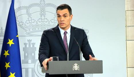 El president del govern espanyol, Pedro Sánchez, durant la roda de premsa posterior al consell de ministres