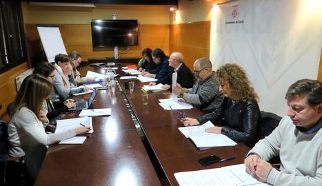 Imatge de la comissió de l'1-O celebrada ahir a la Paeria.