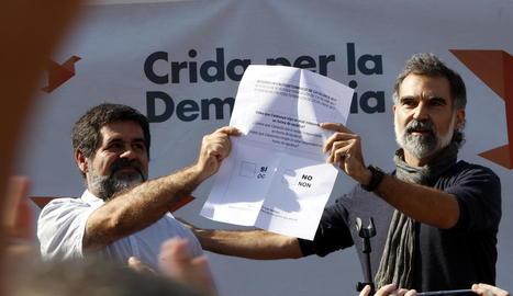 Sànchez i Cuixart, durant un acte de la campanya pel 'sí' al referèndum de l'1-O.