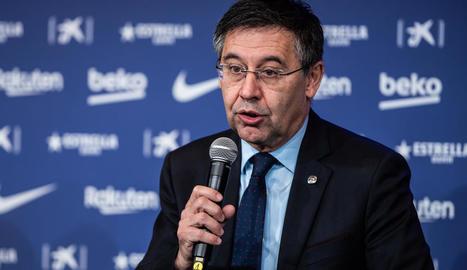 Josep Maria Bartomeu, durant la compareixença ahir davant dels mitjans de comunicació.