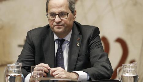 El president de la Generalitat, Quim Torra, ahir, a la reunió setmanal del Consell Executiu.
