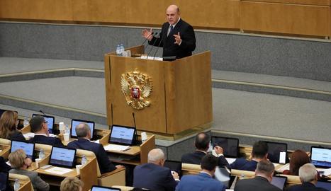 Mikhaïl Mixustin, durant la intervenció a la Duma.