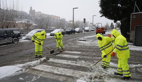 Imatge d'arxiu d'una nevada el febrer del 2018 a Balaguer.