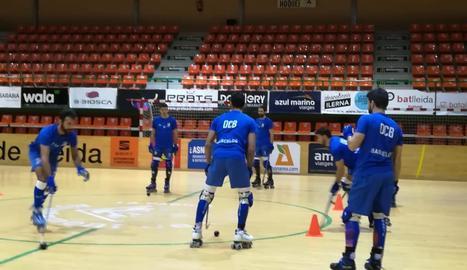 Els jugadors del Llista, ahir durant l'últim entrenament abans del partit.