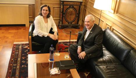 L'alcaldessa de Barcelona, Ada Colau, i el líder d'ERC a la capital catalana, Ernest Maragall, ahir.