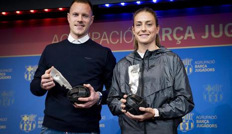 Marc-André Ter Stegen i Alèxia Putellas, premis al Fair Play als equips masculí i femení.