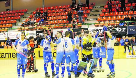 El jugador del planter Sergi Folguera va disputar ahir els primers minuts en competició continental.