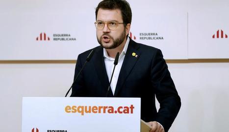 El vicepresident del Govern, durant la seua intervenció al congrés d'ERC.