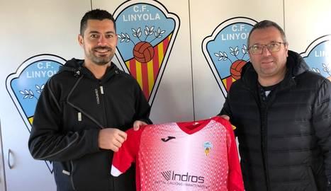 El president del club, Rubén Pou, i el patrocinador Albert Pedrós.