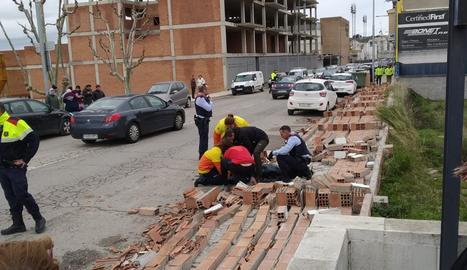 El mur caigut a Balaguer que va ferir una dona.
