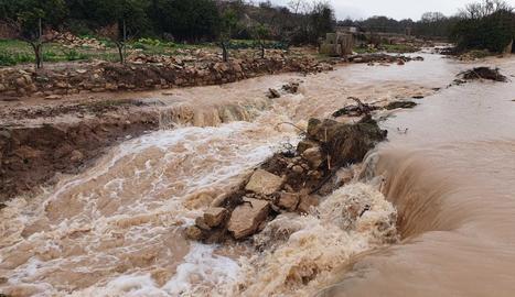 Imatge de la crescuda dels aiguats a l'Albi