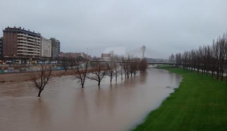 El riu Segre, al seu pas per la canalització de Lleida ciutat aquest dijous al matí.