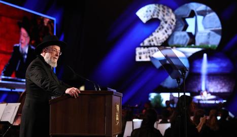 El rabí Meir Lau, supervivent de l'Holocaust, va pronunciar un emotiu discurs durant l'acte.