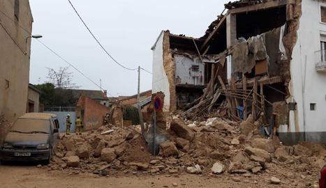 Estado en que ha quedado el edificio tras el desplome.