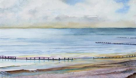 Una de les aquarel·les de la col·lecció a la galeria Le Petit Atelier.