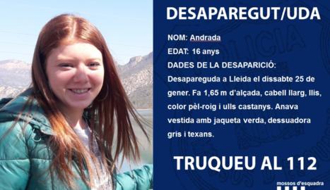 Demanen col·laboració per trobar una jove de 16 anys a Lleida