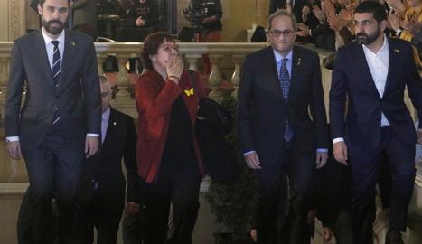 Dolors Bassa, en la seva arribada al Parlament