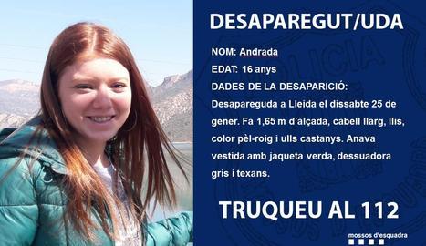 Imatge i informació de la desapareguda que va difondre Mossos.