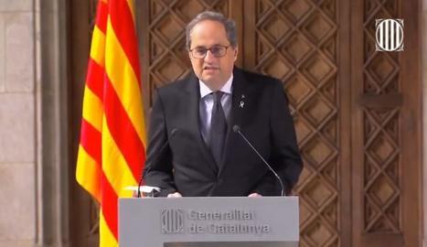 El president de la Generalitat, Quim Torra, en un moment de la seua declaració institucional.